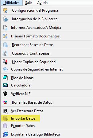 Importar Datos al programa de gestión de bibliotecas xl