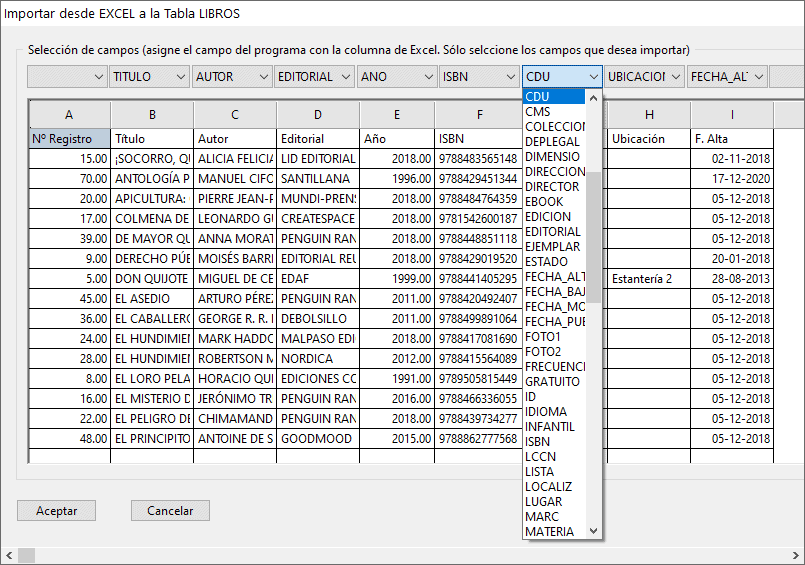 Importar datos al programa relacionando cada columna
