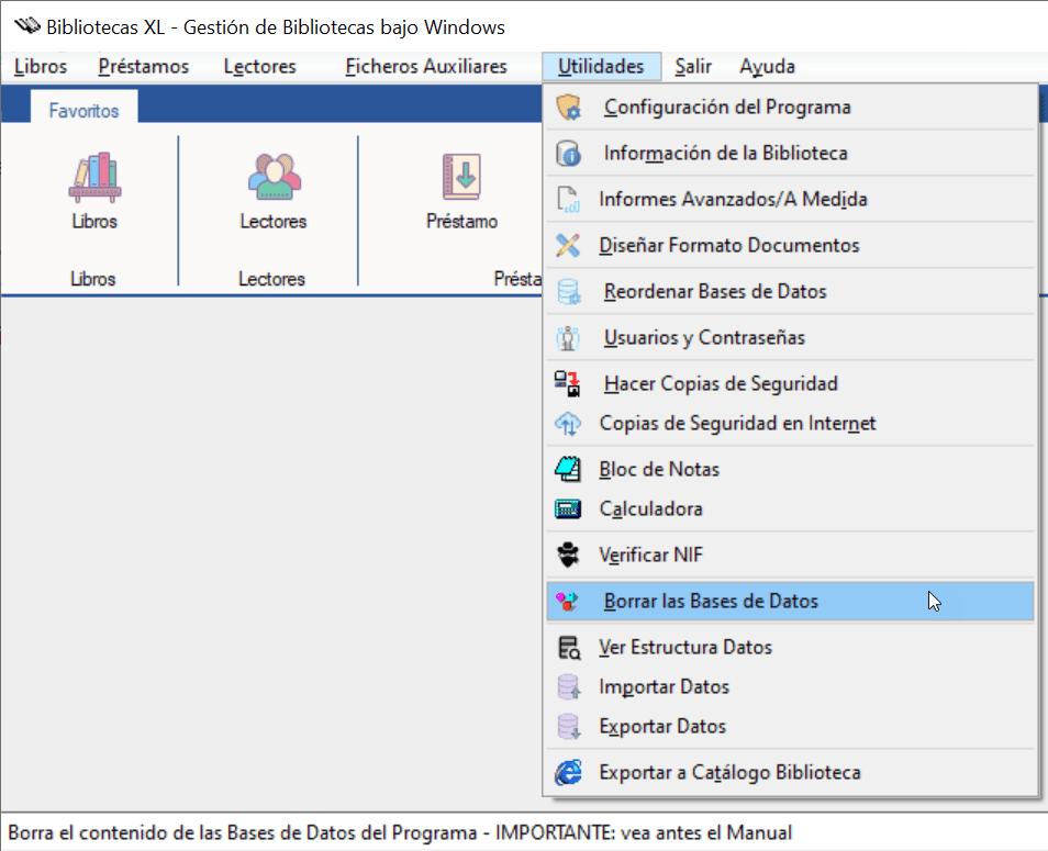Borra el contenido de las Bases de Datos del Programa Bibliotecas XL
