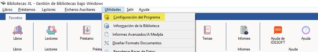 Configuración programa bibliotecas