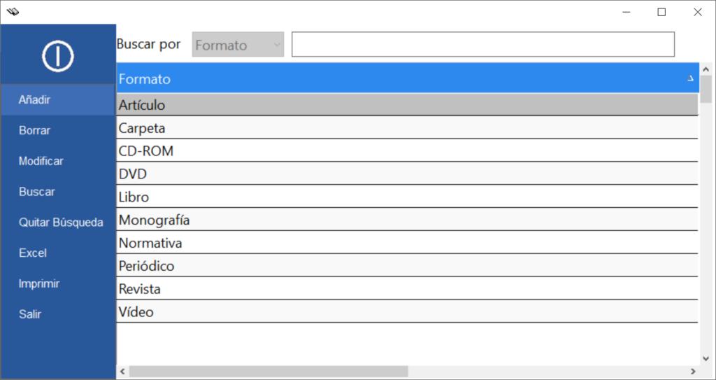 Gestión de formatos programa bibliotecas