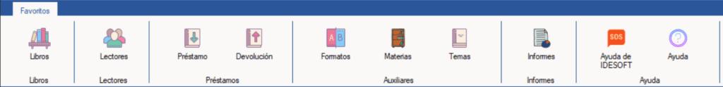 Barra de opciones del programa Bibliotecas XL